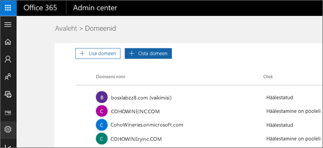 Klõpsake lehel Domeenide haldamine nuppu Osta domeen.