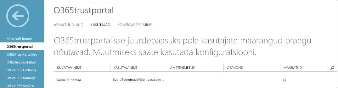Kuvatakse Azure AD leht, kus on esile tõstetud teenuste usaldusväärsuse portaali jaoks määratud kasutajad.