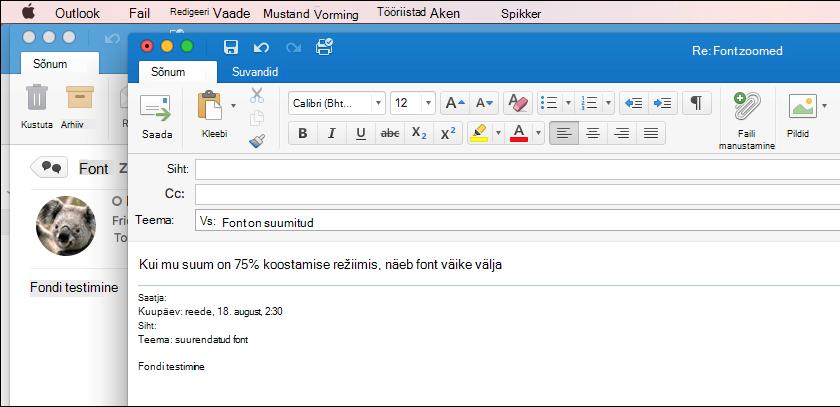Fondi suurus rakenduses Outlook for Mac