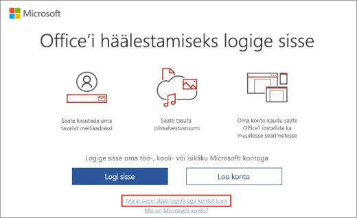 Kuvatud on link, mille klõpsamisel saate sisestada Microsoft HUP tootevõtme