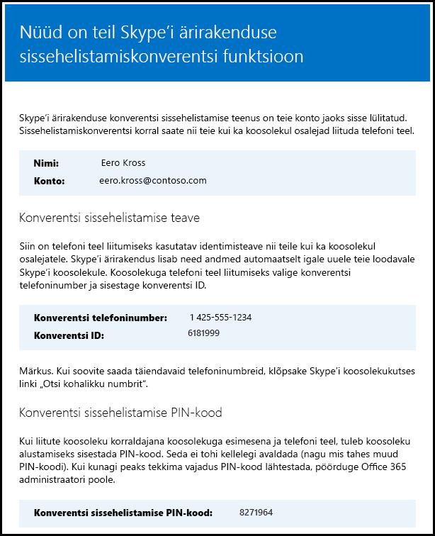 Skype'i ärirakenduse litsentsi kontrollimine