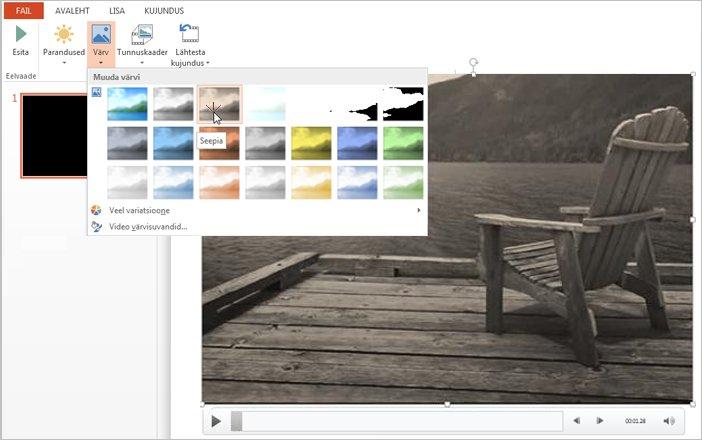 Videomaterjali värvi muutmine