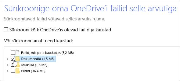 """Kuvatõmmis dialoogiboksist """"OneDrive'i failide sünkroonimine selle arvutiga""""."""