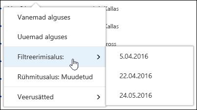 Teenusekomplektis Office 365 dokumenditeegi vaade filtreerimine