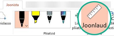 Joonlauašabloon asub PowerPoint 2016 lindimenüüs Joonista.