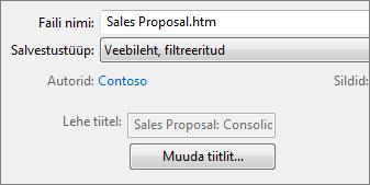 Dialoogiboks Nimega salvestamine, kus on valitud väärtus Veebileht, filtreeritud