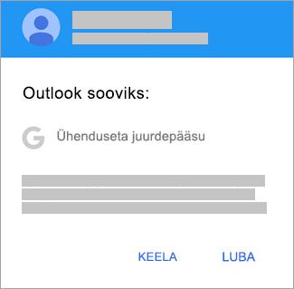 Puudutage nuppu Luba, et anda Outlookile ühenduseta juurdepääs.