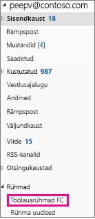 Outlook 2016 navigeerimispaan, kus on esile tõstetud rühmad