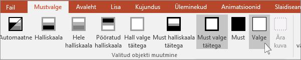 näitab PowerPointis valitud objekti muutmise menüüd