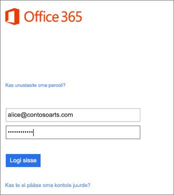 Outlooki organisatsioonikontole sisselogimine