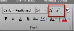 Exceli jaotis Font