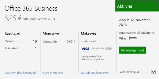 Office 365 halduskeskuse lehel Tellimused oleva tellimuse kuvatõmmis, kus on näha olemasolev tellimus ja selle olek.