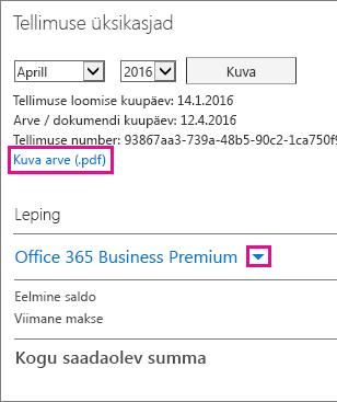 """Arve PDF-faili allalaadimiseks valige """"Kuva arve (.pdf)"""""""