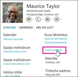 Kontaktikaardi käsk Lingi kontaktid