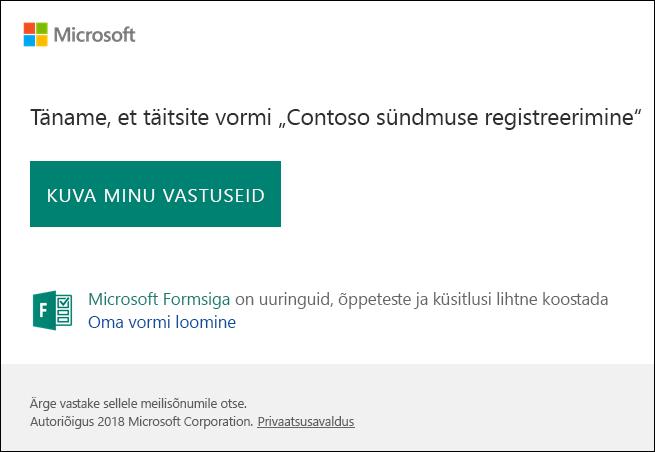 E-posti kinnitusteade ja vastuste Microsoft Forms link