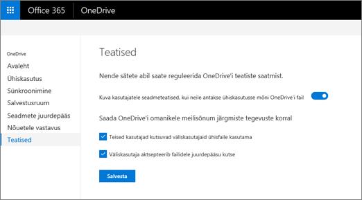 OneDrive'i halduskeskuse menüü Teatised
