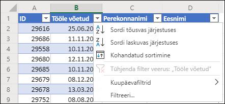 Kasutage tõusvas või kahanevas järjestuses sortimiseks Exceli tabeli filtrit
