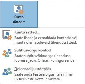 Outlookis volitatud esindaja lisamise kuvatõmmis