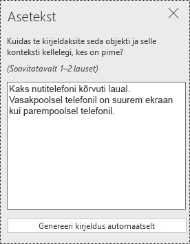 Aseteksti dialoogiboks rakenduses PowerPoint Online.