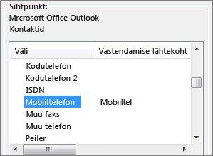 Väärtus Mobiiltel on vastendatud Outlooki väljaga Mobiiltelefon