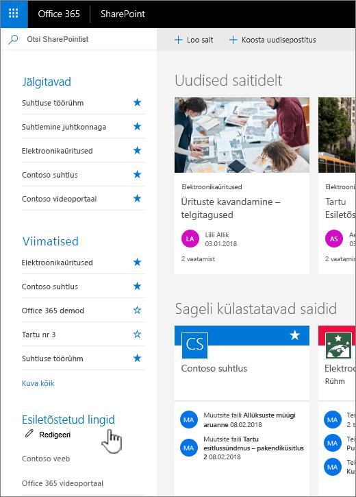 SharePoint Online'i avalehel linkide loend