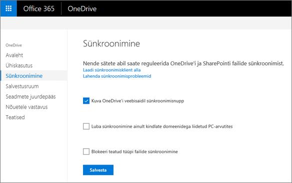 OneDrive'i halduskeskuse vahekaart Sünkroonimine