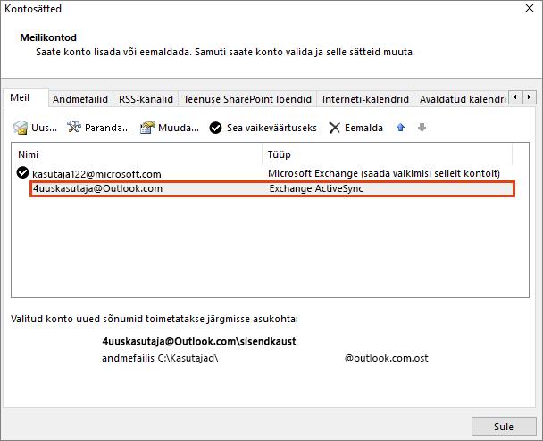 Outlooki kontosätted, Meilikontod