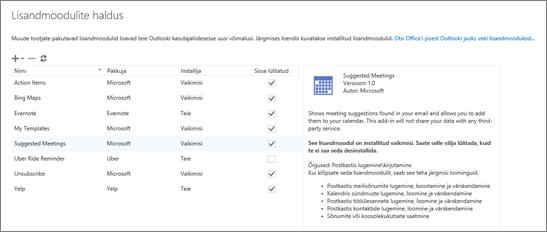 """Kuvatõmmis aknast """"Lisandmoodulite haldus"""", kus saate lisandmooduleid lisada ja eemaldada, nende kohta teavet vaadata ning Office'i poest Outlooki jaoks rohkem lisandmooduleid hankida. Valitud on lisandmoodul Soovitatud koosolekud ja selle kohta on kuvatud teave."""