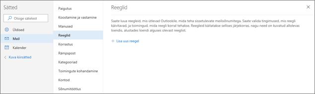 Outlook.com-i sätete jaotise Meil lehe Reeglid kuvatõmmis.
