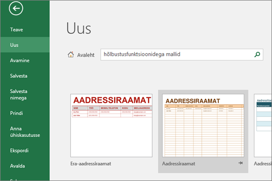 Kuva lõikepilt Exceli kasutaja kasutajaliidese kuvatakse otsinguvälja täis puuetega inimestele juurdepääsetavate Mallid kirje ja Otsingu tulemused puuetega inimestele juurdepääsetavate mallid.