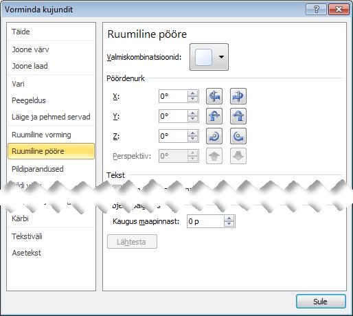 3D pöörde suvandid dialoogiboksi Kujundi vormindamine
