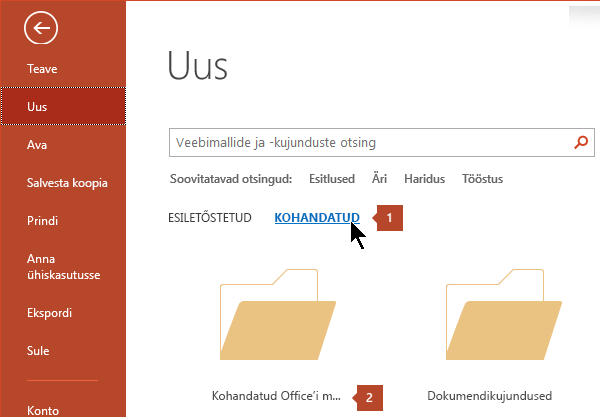 Valige Fail > Uus > Kohandatud > Kohandatud Office'i mallid.