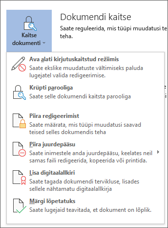 Dokumendi kaitse menüü rakenduses Word for Office 365