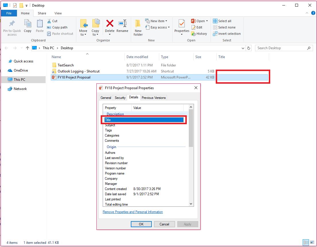 Office'i dokumendiatribuudid Windows File Exploreris