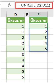 Funktsiooni UNIQUE näide: =UNIQUE(D2:D11)