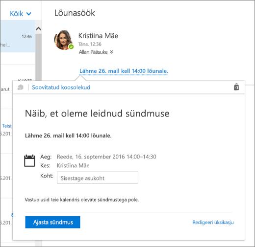 """Kuvatõmmis ühest koosolekuteemalisest meilisõnumist ja kaardist """"Soovitatud koosolekud"""", kus on näha koosoleku üksikasjad ning selle ajastamise ja üksikasjade redigeerimise võimalused."""