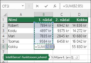 Lahtris B6 on näidatud automaatsumma valem: =SUM(B2:B5)