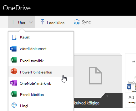 OneDrive for Businessis failide loomine