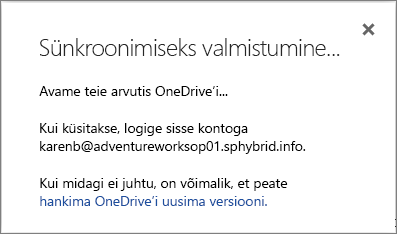 Kuvatõmmis sünkroonimiseks valmistumise dialoogiboksist, mis kuvatakse OneDrive for Businessi sünkroonimiseks häälestamisel