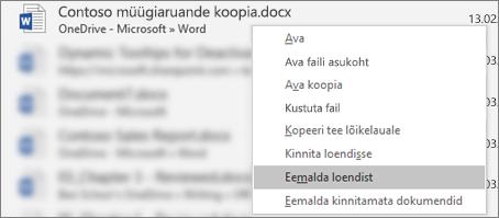 Kontekstimenüü, mis kuvatakse viimatiste failide loendis faili paremklõpsamisel