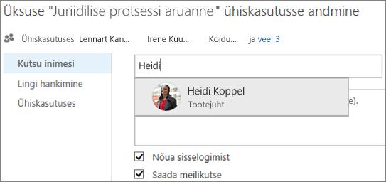 Kuvatõmmis, millel kujutatakse faili ühiskasutusse andmist teenuses OneDrive for Business