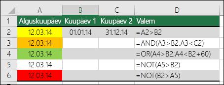 Näide funktsioonide AND, OR ja NOT kasutamise kohta tingimusvormingutestidena