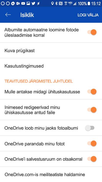 Avage OneDrive Androidi jaoks mõeldud Teatiste sätete määramiseks seaded.