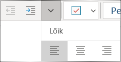 Lõikude vasakjoondus rakenduses OneNote for Windows 10
