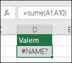 Kui funktsiooni nimes on kirjaviga, kuvab Excel veaväärtuse #NAME?