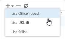 """Kuvatõmmis lisandmoodulite halduse tööriistaribal olevatest võimalustest, sh lisamisest, kustutamisest ja värskendamisest. Kuvatakse jaotise """"Lisa"""" valikud, milleks on """"Lisa Office'i poest"""", """"Lisa URL-ilt"""" ja """"Lisa failist""""."""