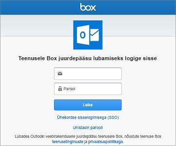 Salvestusruumikonto ühendamisel peate sisestama kasutajanime ja parooli, et Outlook pääseks teie failidele juurde
