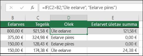 """Lahtris D2 on järgmine valem: =IF(C2>B2;""""Eelarvest väljas"""";""""Eelarve piires"""")"""