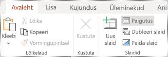 Rakenduses PowerPoint Online menüü Avaleht nuppu paigutus.