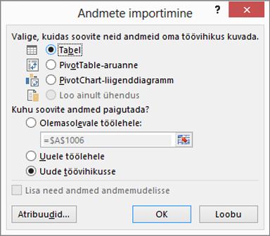 "Excel 2016 dialoogiboks ""Andmete importimine"""